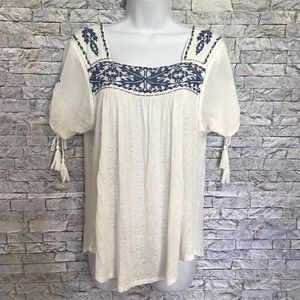 Lucky Brand Boho Square Neck Hippie Tunic Blouse S